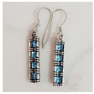 Vintage Blue Crystal Marcasite 925 Silver Earrings